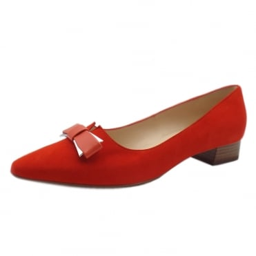 Leah Pointed Toe Low Heel Courts in Coral Red