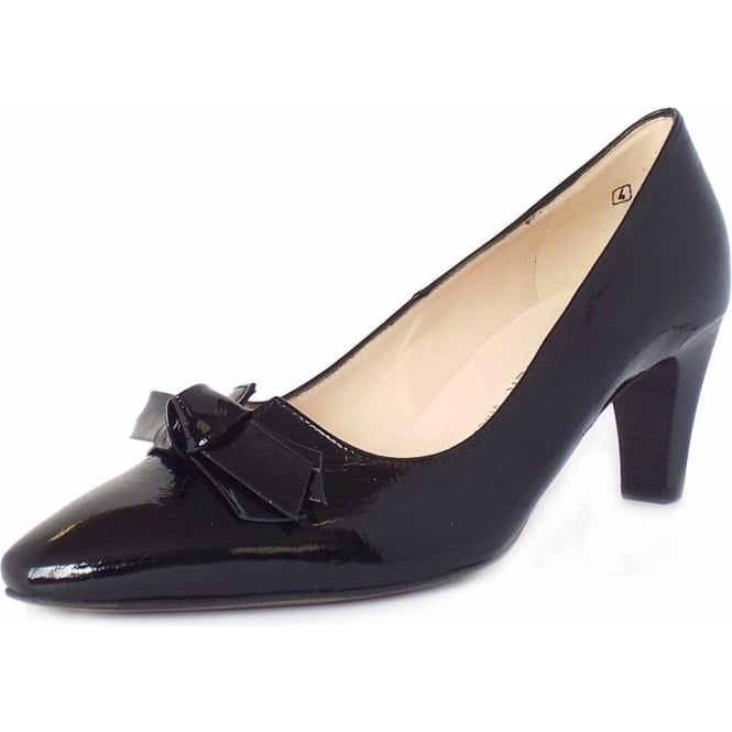 Peter Kaiser Leola Ladies Mid Heel Court Shoes in Black Crackle Patent