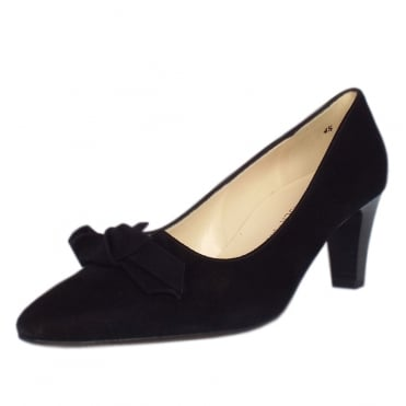 Leola Mid Heel Court Shoes With Bow In Black Suede