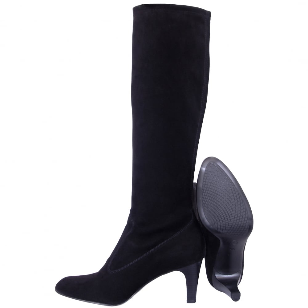 ebf27cce3b1 Levke Pull On Stretch Suede Knee High Boots in Black