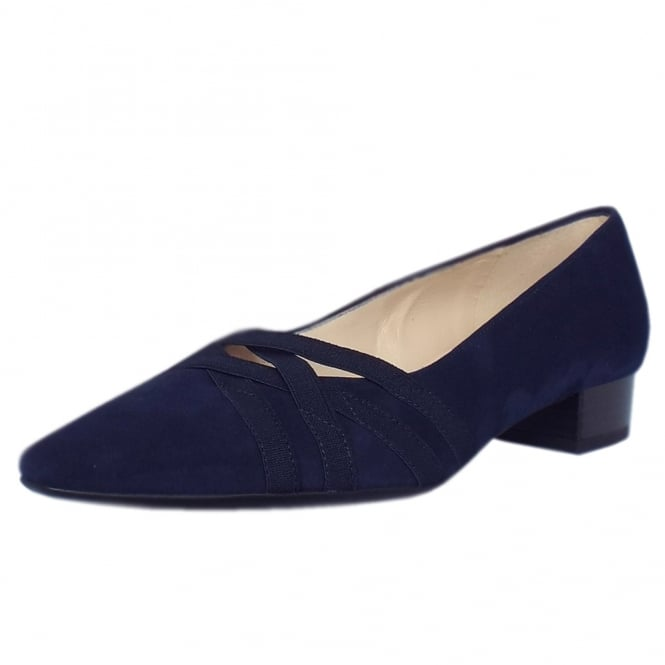 Peter Kaiser Liesel Low Heel Shoes in Notte Suede