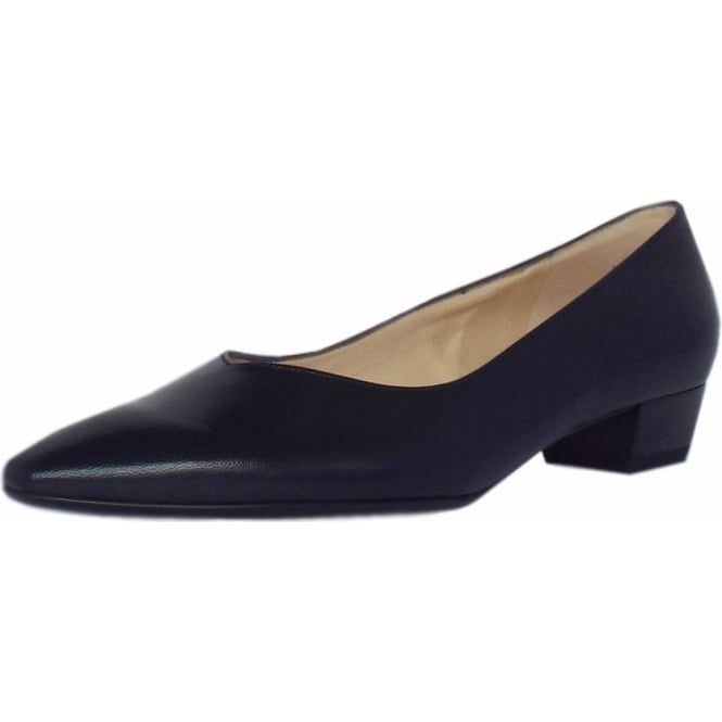 Limba Pointed Toe Low Heel Court Shoes in Navy Leather 69c31af32683