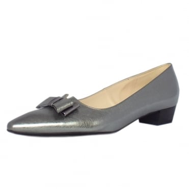 Peter Kaiser Lisa Women's Low Heel Dressy Shoes in Brushed Effect Steel Silver