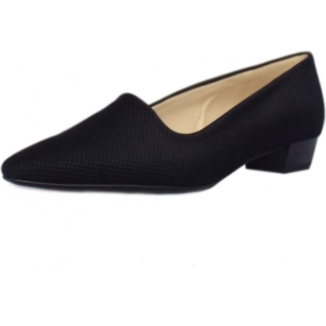 Peter Kaiser Lisana Pointed Toe Low Heel Courts in Black Textile