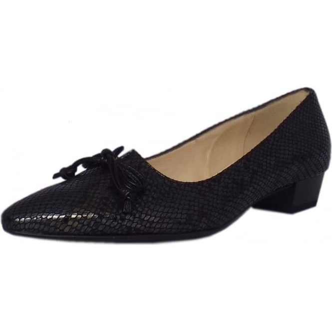 Peter Kaiser Lizzy Pointed Toe Low Heel Courts in Black Logger