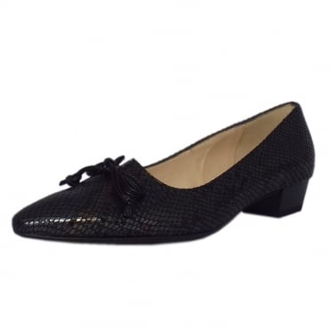 Lizzy Pointed Toe Low Heel Courts in Black Logger