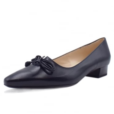 Lizzy Pointed Toe Low Heel Courts in Navy