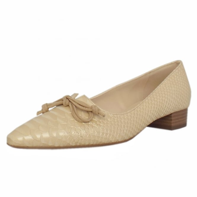 Peter Kaiser Lizzy Pointed Toe Low Heel Courts in Sabbia Birman