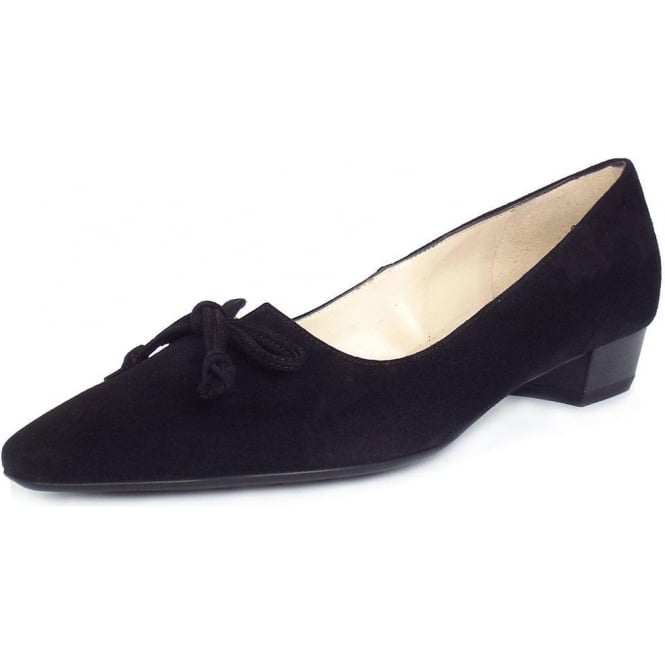 Peter Kaiser Lizzy Pointed Toe Low Heel Shoes In Black Suede