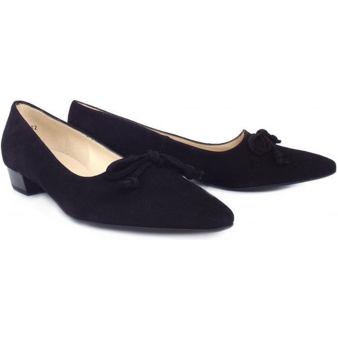 04f2ac02cd78 Lizzy Pointed Toe Low Heel Shoes In Black Suede