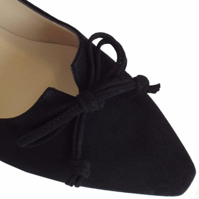718a76ce679 Peter Kaiser Lizzy Pointed Toe Low Heel Shoes In Black Suede