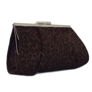 Lomasi Women's Evening Clutch Bag in Animal Print Suede