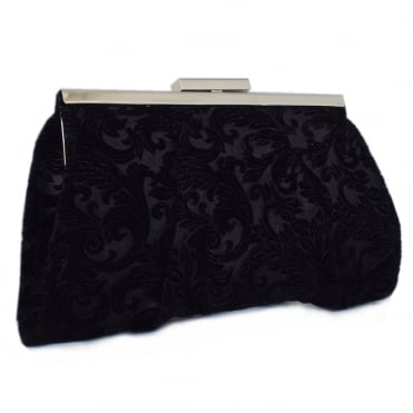 Lomasi Women's Evening Clutch Bag in Black Velvet
