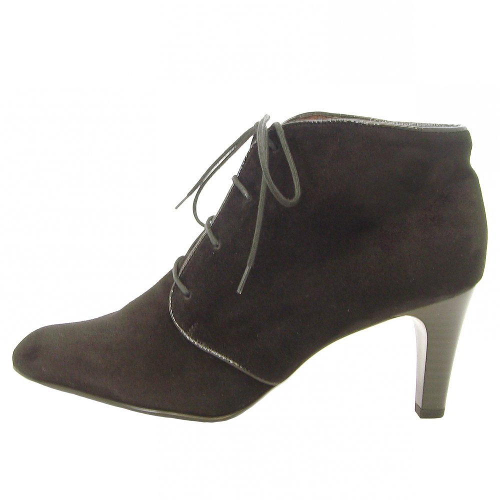kaiser lore mid heel shoe boots in black suede