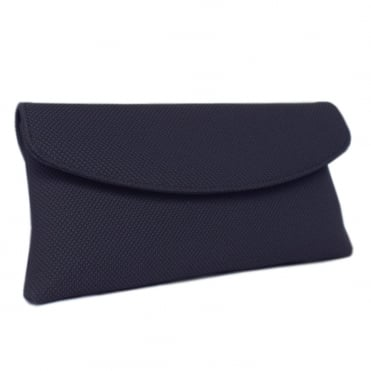 Mabel Evening Clutch Bag in Navy Rombo