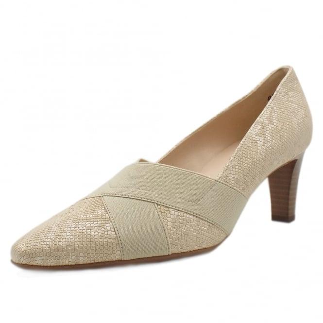 Peter Kaiser Malana Mid Heel Court Shoes in Sand Tiles