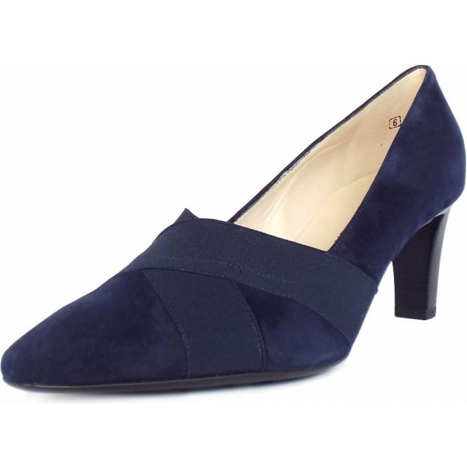 Peter Kaiser Malana Women's Mid Heel Court Shoes in Navy Suede