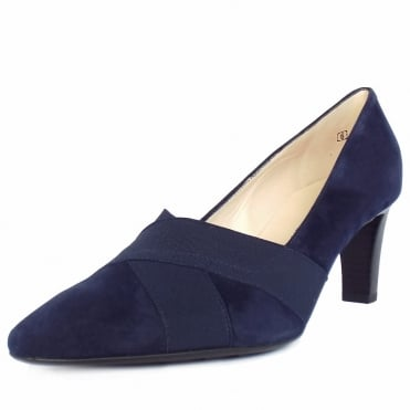 Malana Women's Mid Heel Court Shoes in Navy Suede