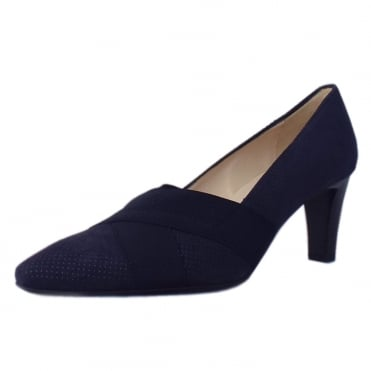Malana Women's Mid Heel Court Shoes in Notte Speckle Suede