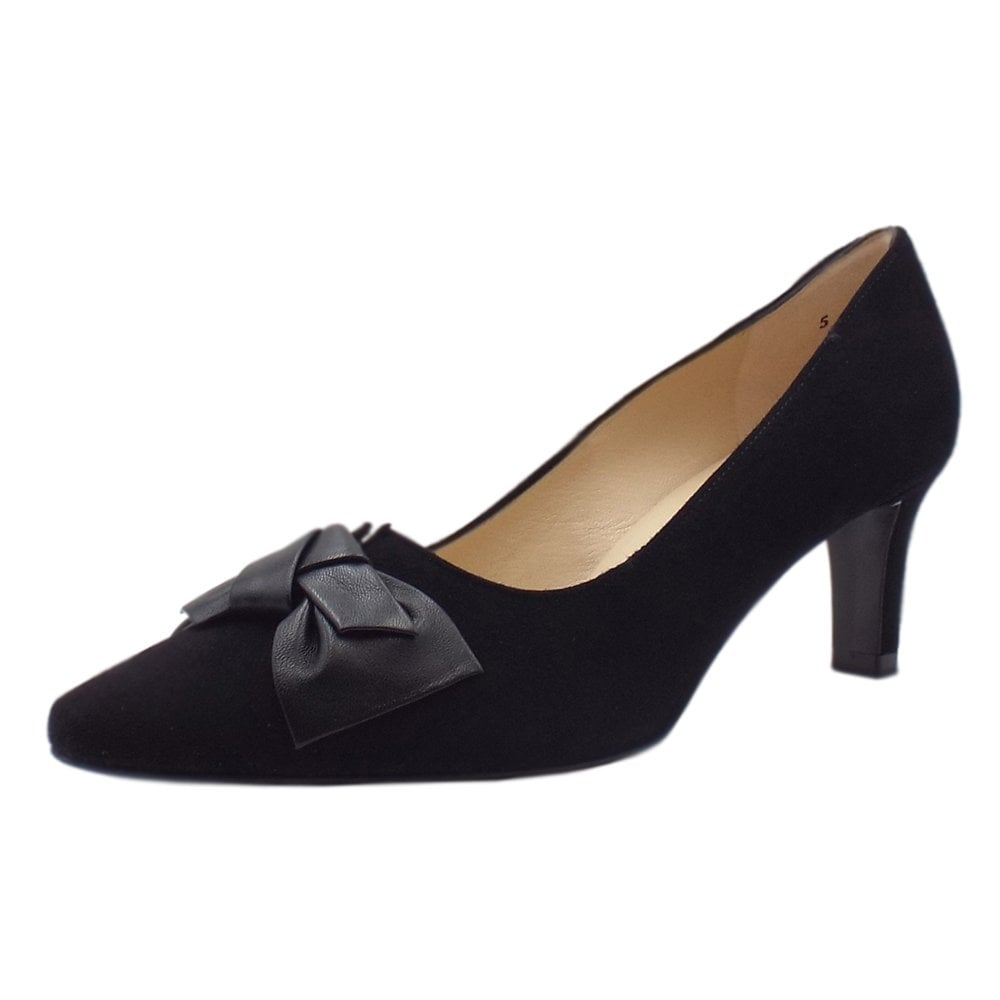 4c26eb62088 Peter Kaiser Mallory Mid Heel Pointed Toe Court Shoes in Black Suede
