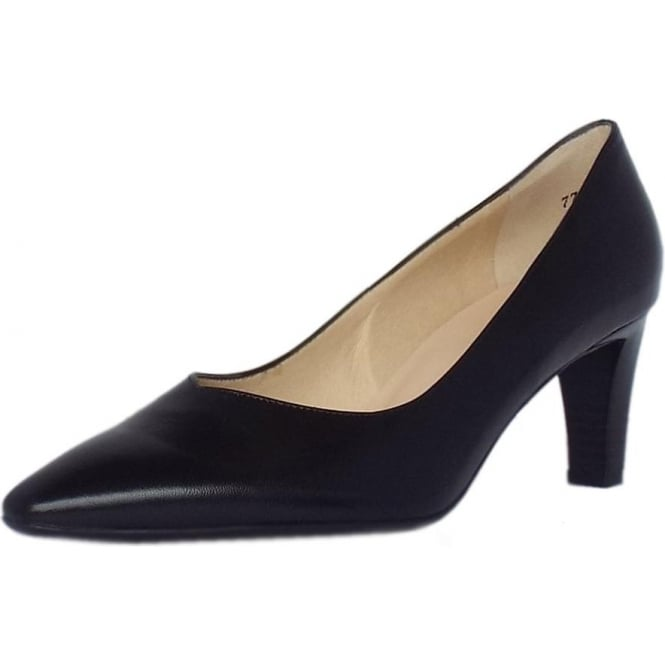4e529b9c135 Mani Classic Semi-Pointed Mid Heel Court Shoes in Black Leather