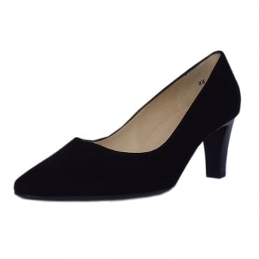 Peter Kaiser Mani Classic Semi-Pointed Mid Heel Court Shoes in Black Suede