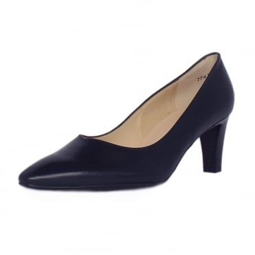 Mani Classic Semi-Pointed Mid Heel Court Shoes in Navy Leather