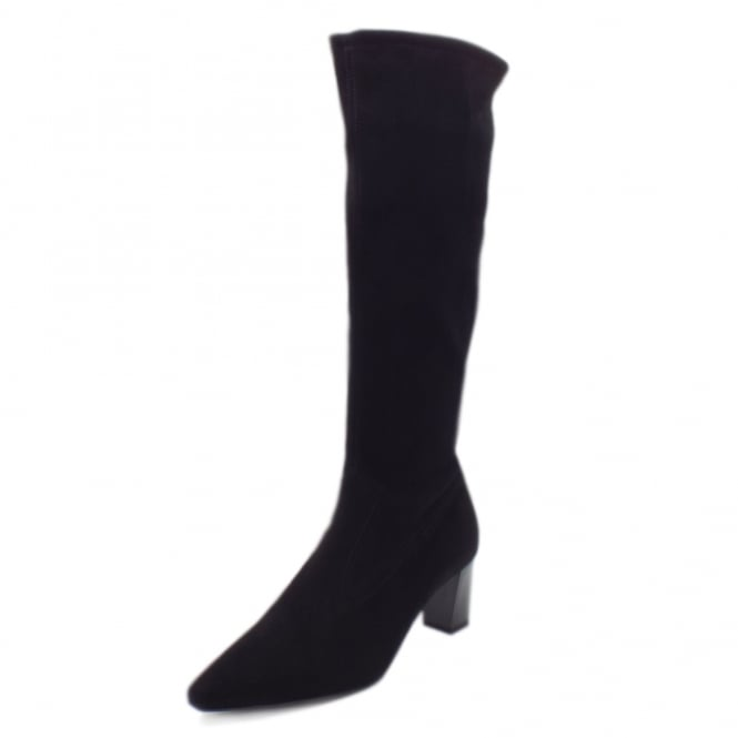 Peter Kaiser Marabella Pull On Stretch Suede Knee High Boots in Black Freso