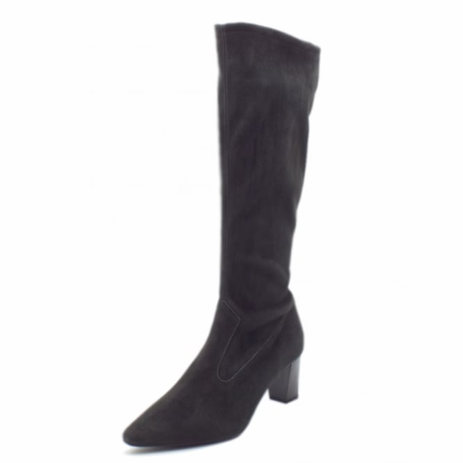 Peter Kaiser Marabella Pull On Stretch Suede Knee High Boots in Carbon Freso