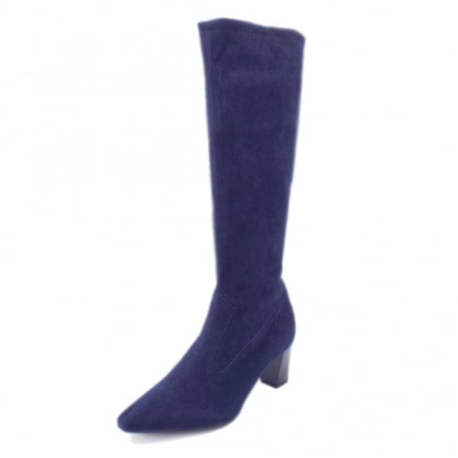 Peter Kaiser Marabella Pull On Stretch Suede Knee High Boots in Notte Freso
