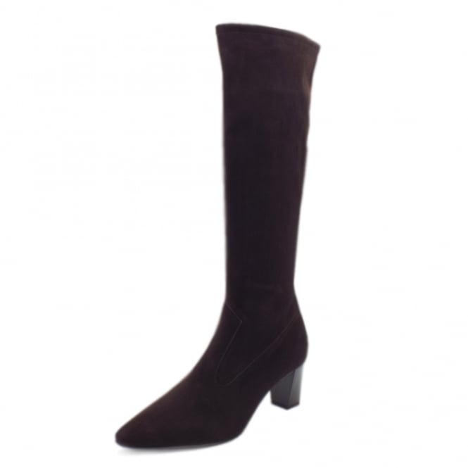 Peter Kaiser Marabella Pull On Stretch Suede Knee High Boots in Nuba Freso