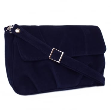 Maria Women's Evening Bag In Navy Suede