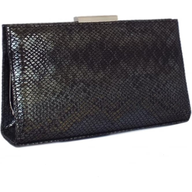 Peter Kaiser Mariam Evening Bag in Black Snake Print Leather
