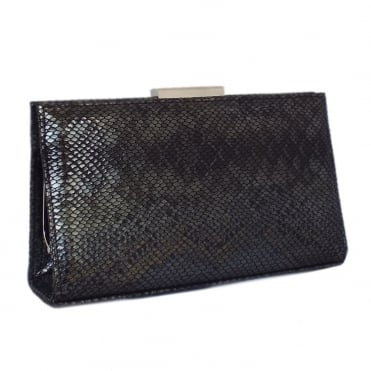 Mariam Evening Bag in Black Snake Print Leather