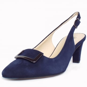 Merlina Sling Back Mid Heel Shoes In Navy Suede