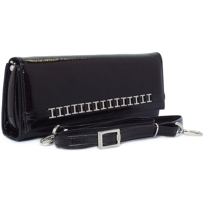 Peter Kaiser Mimi Women's Dressy Shoulder Clutch Bag in Black Crackle Patent