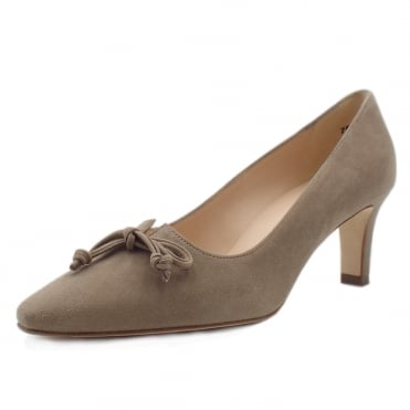 Mizzy Mid Heel Pointed Toe Court Shoes in Taupe Suede