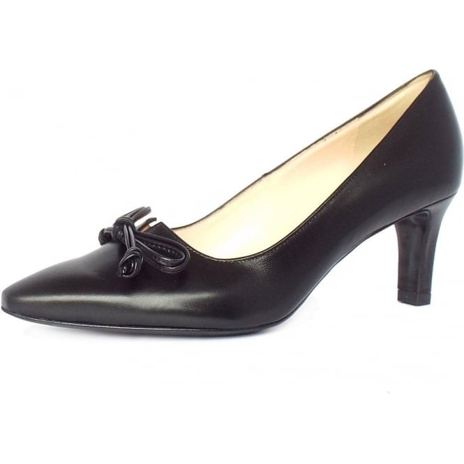 Peter Kaiser Mizzy Women's Mid Heel Pointed Toe Court Shoes in Black Leather