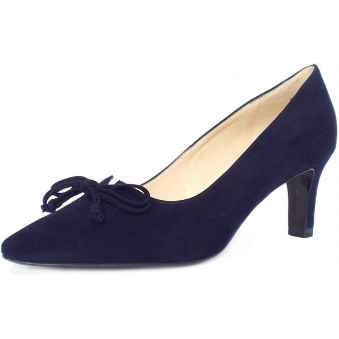 Peter Kaiser Mizzy Women's Mid Heel Pointed Toe Court Shoes in Navy Suede