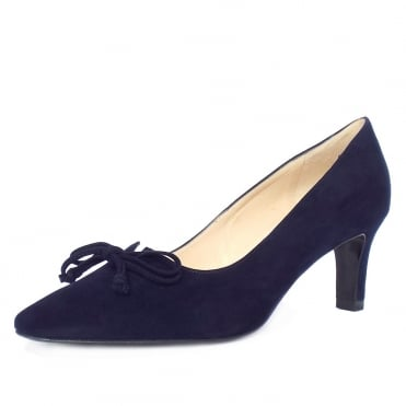 Mizzy Women's Mid Heel Pointed Toe Court Shoes in Navy Suede