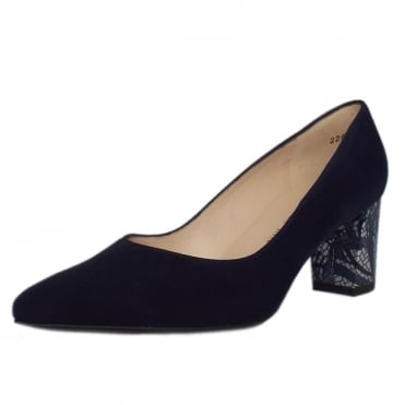 Naja Trendy Block Heel Pointed Toe Court Shoes in Notte Suede