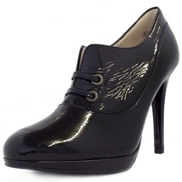 Nelana High Top High Heel Shoes In Black Patent