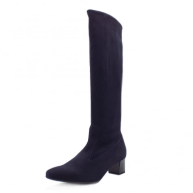 Peter Kaiser Ofela Women's Pull On Navy Suede Stretch Boots