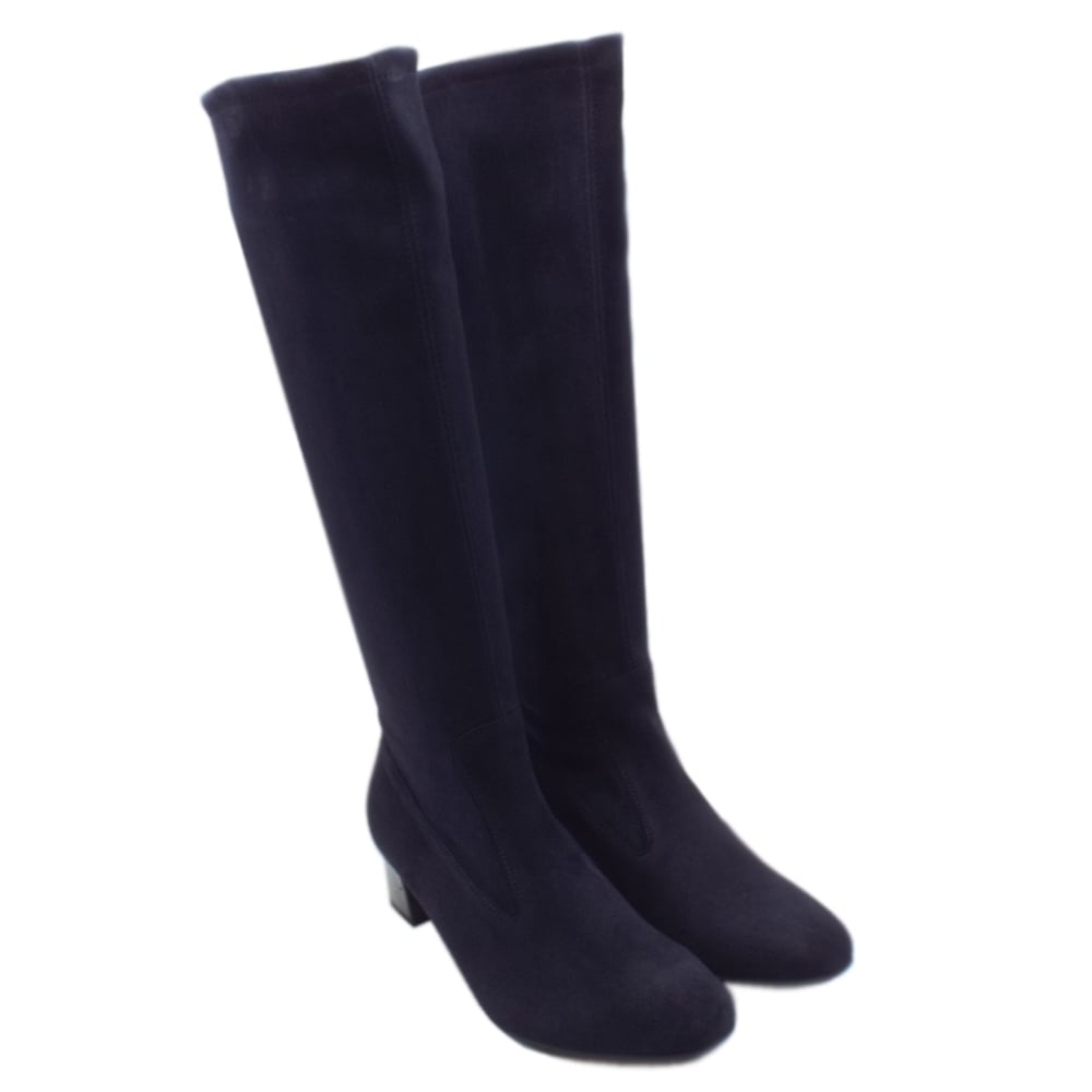 e087ac02ad5b Ofela Women  039 s Pull On Navy Suede Stretch Boots