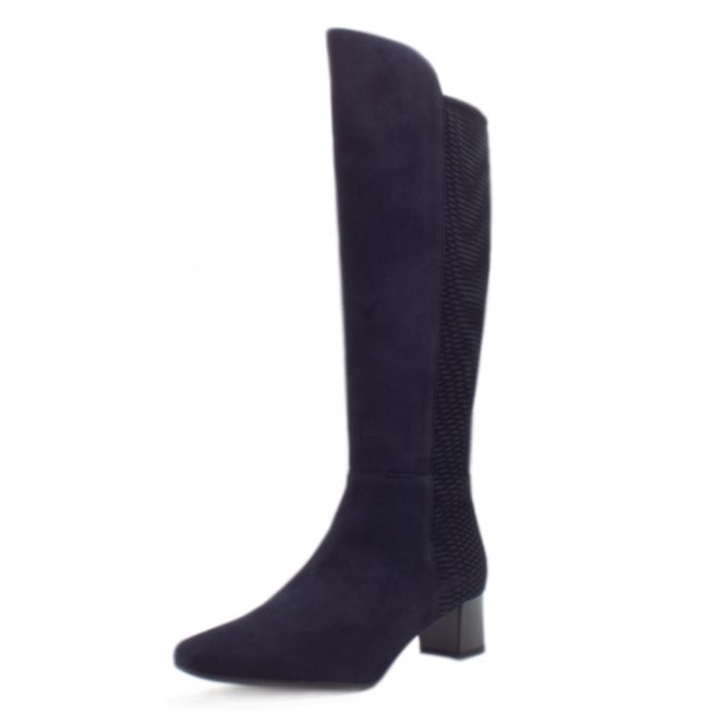 Peter Kaiser Olara Pull On Stretch Suede Knee High Boots in Navy Nico
