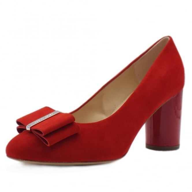 Peter Kaiser Osilia Trendy Rounded Block Heel Court Shoes in Red