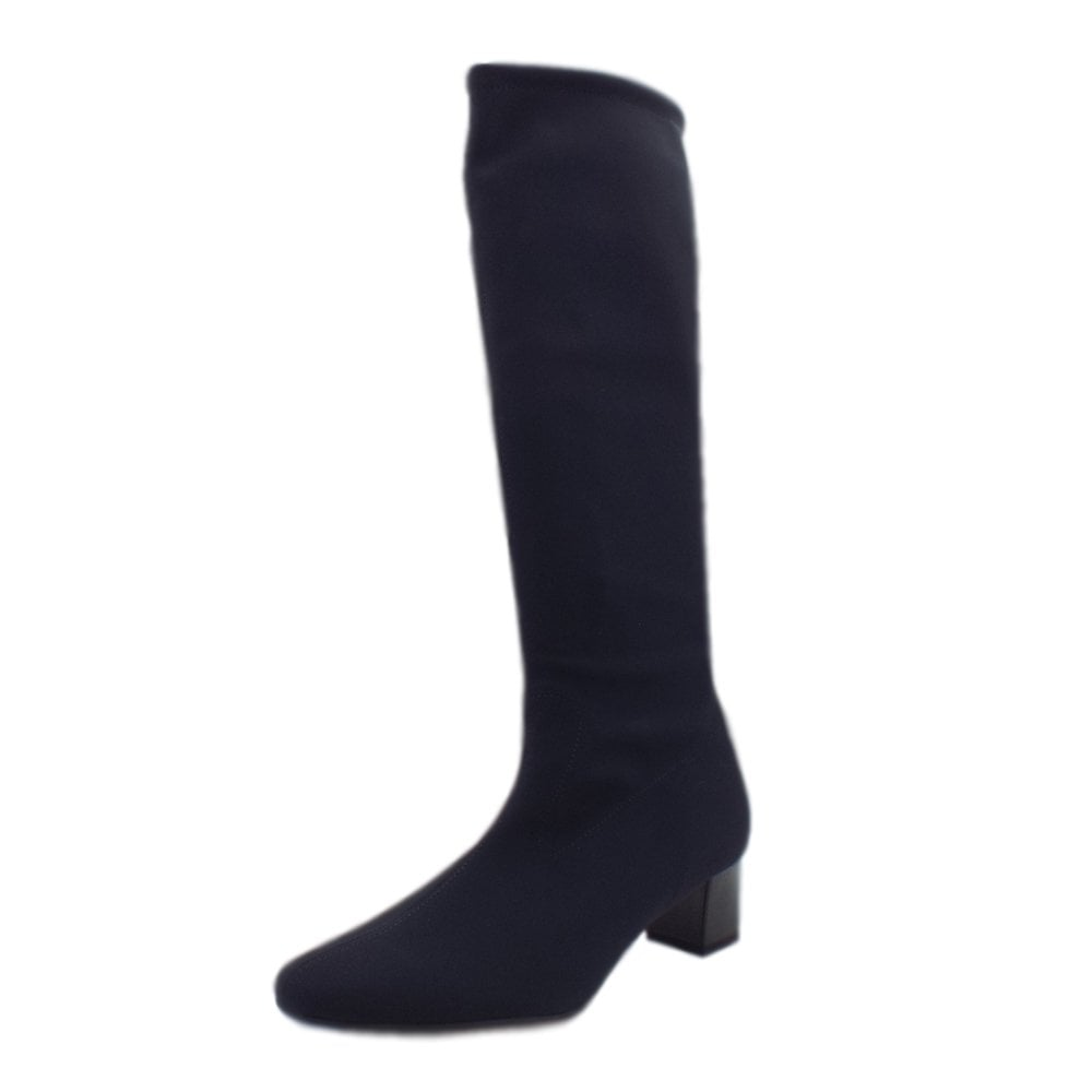online store 159c4 f73b8 Oswana Pull On Knee High Boots in Navy Stretch