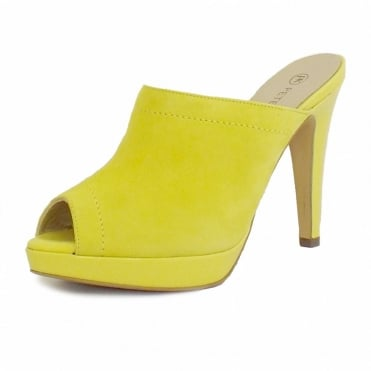 Palia Slip On Ladies Mule in Lemon Suede