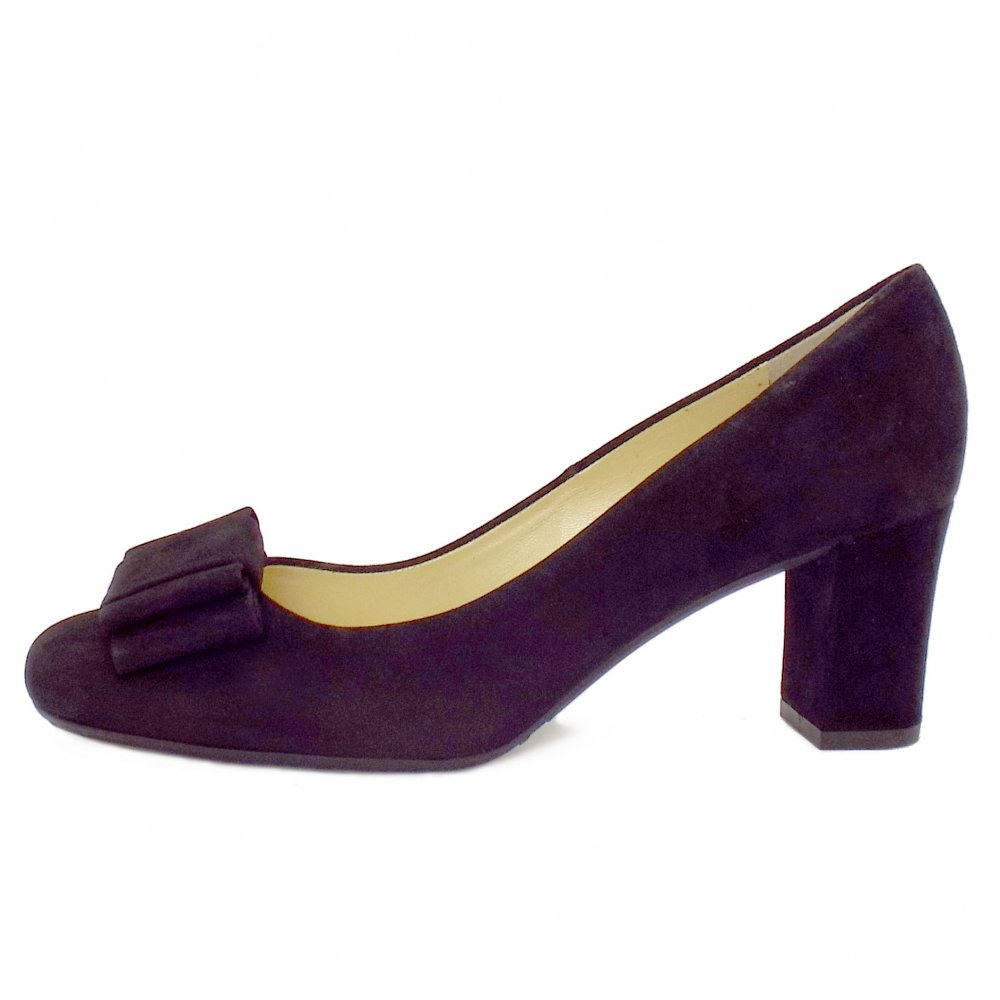 kaiser pallau black suede court shoe with bow