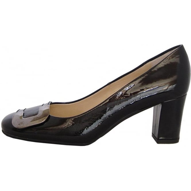 Peter Kaiser Patty classic court shoes in black patent with metal buckle